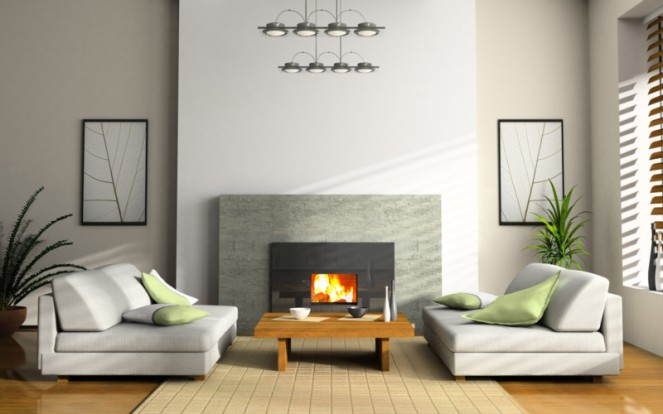 Modern Living Room White Sofa Modern Fireplace Design Ideas